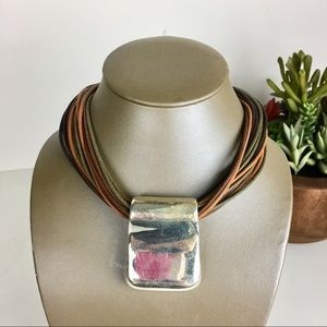 MILOR 925 Sterling Silver Fall color Cord Necklace